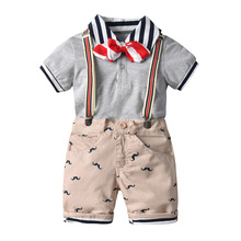 Summer wear suits the 2019 new children's short sleeve  tie short-sleeved shirt straps shorts four dresses