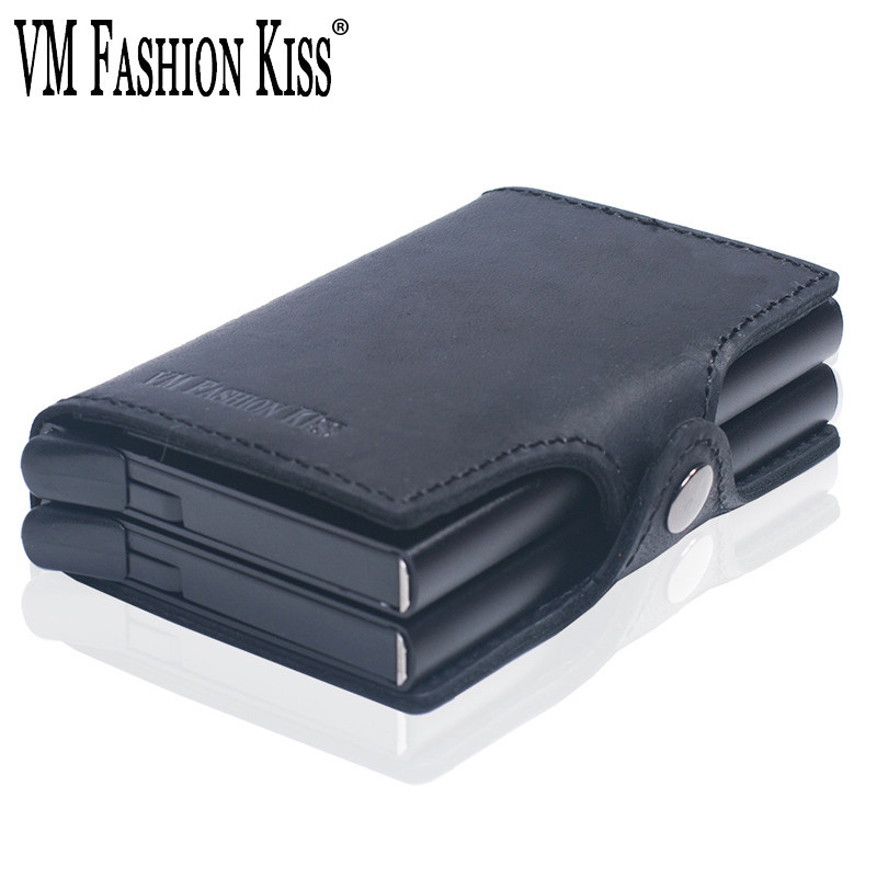 VM FASHION KISS RFID Crazy Horse Leather Security Information Double Box Aluminum Mini Wallet Credit Card Holder Metal Purse