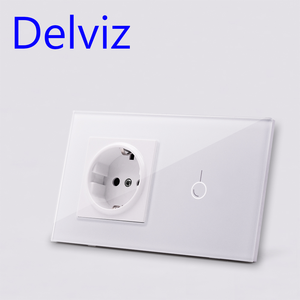 Delviz EU Standard Wall Switch Socket,1Gangs 1Way/2Way,AC 110~240V,mains jack,Home Touch Screen Light Switch,Crystal Glass Panel