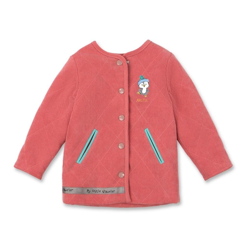 Фото - Basik Kids Coat velvet Powder velvet hooded color block coat