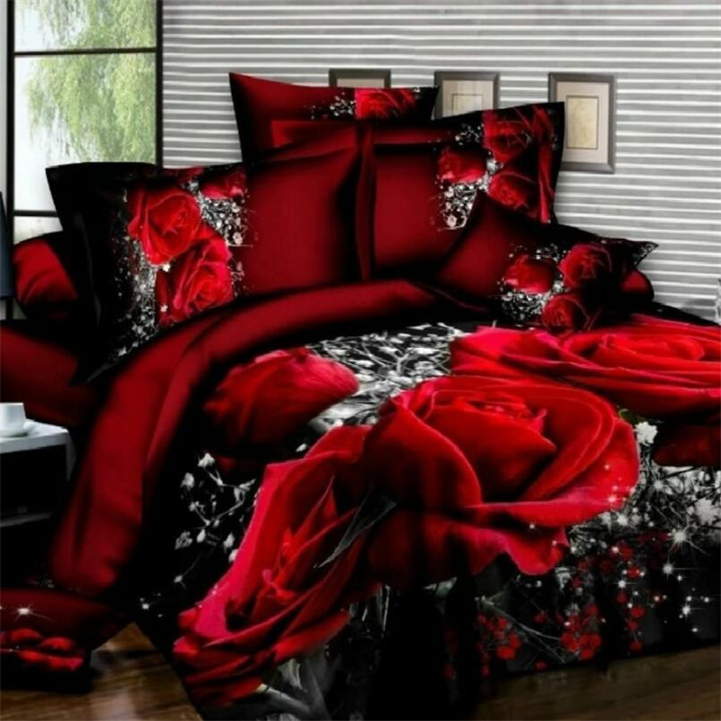Bedding Set Luxury 3D Rose Cotton Bedding Sets Bed Sheet Duvet Cover Pillowcase Cover Set King Twin Queen Size Bedspread
