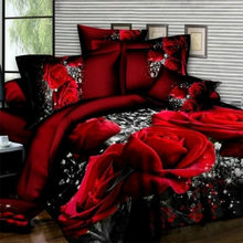 Bedding Set luxury 3D Rose Cotton Bedding sets Bed Sheet Duvet Cover Pillowcase Cover set King Twin Queen size Bedspread(China)
