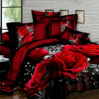 Bedding Set luxury 3D Rose Cotton Bedding sets Bed Sheet Duvet Cover Pillowcase Cover set King Twin Queen size Bedspread 4pcs 600tc egyptian cotton soft duvet cover bed sheet set queen king size silky soft simple style embroidery hotel bedding set