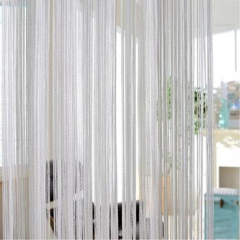 200 x100cm Shiny Tassel Flash Silver Line String Curtain Window Door Divider Sheer Curtain Valance Home Decoration 16
