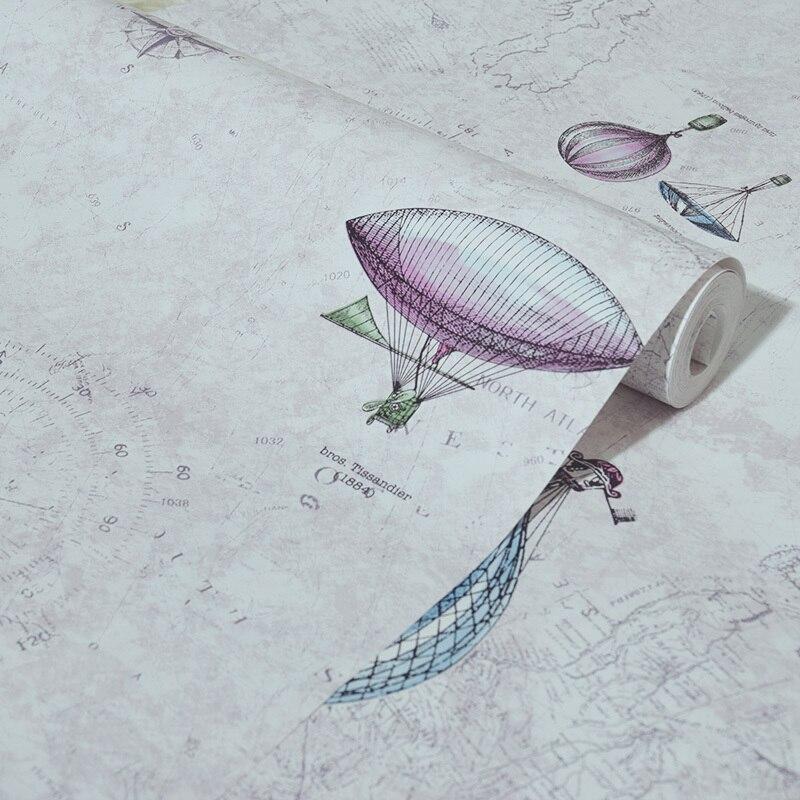 Haute qualité Air chaud ballon papier peint pour enfants salon literie chambre rose jaune bleu mur papier rouleau - 6