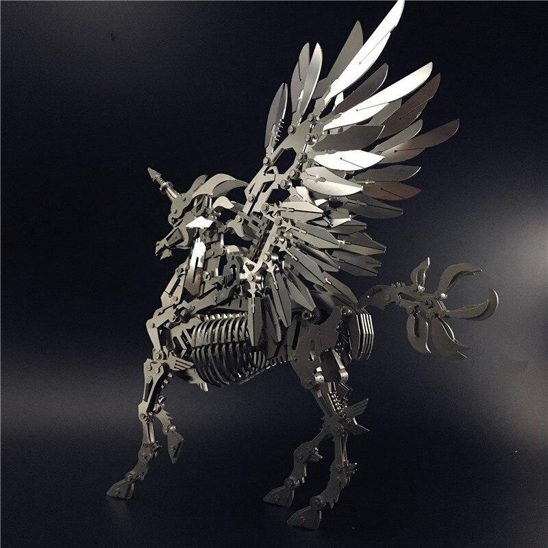 Grande Unicorn 3D Acciaio Metallo Mobilità Articolare Modello In Miniatura Kit di Giocattoli di Puzzle Per Bambini Ragazzo Splicing Hobby di Costruzione - 4