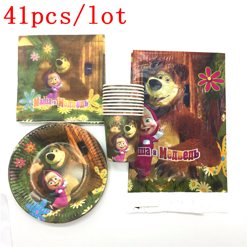 Masha and Bear Theme 41Pcs Children Birthday Party Tableware Tablecloths+Napkins+Plates+Cups Decorations Supplies