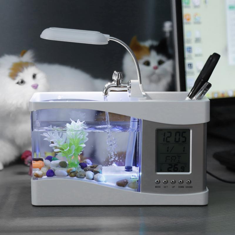 Accessoires d'aquarium Usb Mini Betta Aquarium tortue avec horloge fonction de température lumière incubateur boîte décoration de réservoir de poisson