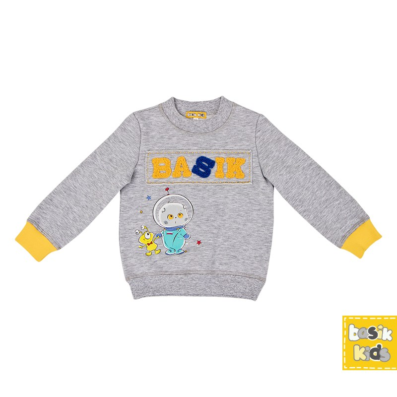 Basik Kids Blouse Sweatshirt gray melange kids clothes children clothing цена и фото