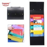 6 pckets Expanding wallet Hanging accordion file folder plastic A4 portable accordion bag multi functional file bag freeshiping