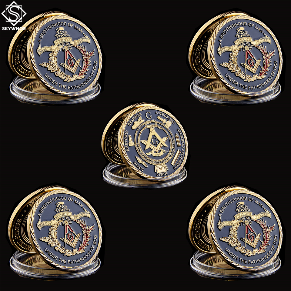5PCS Freemasonry Masonic A Brotherhood of Man Under Fatherhood of God Commemorative Coins Token