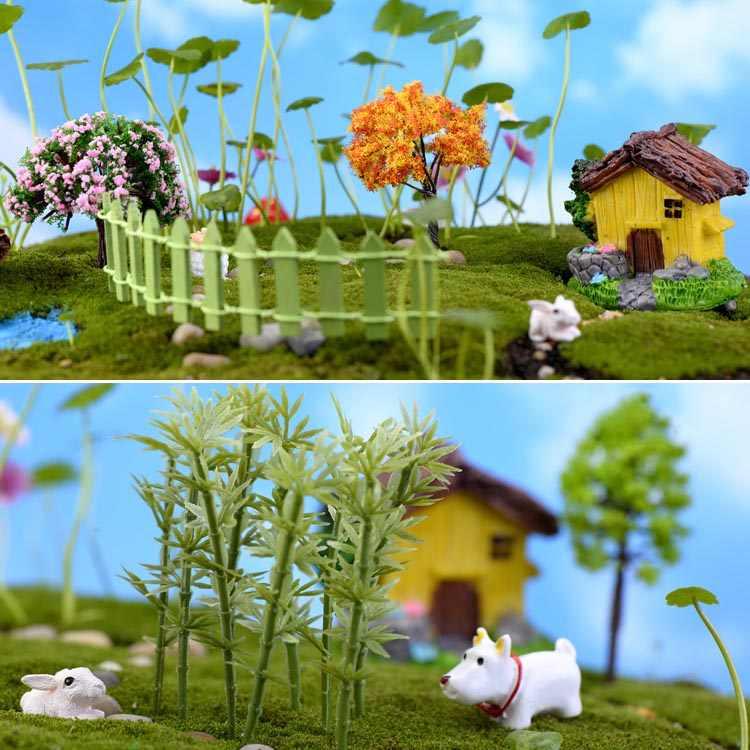Plastic Mini Simulation Trees Willow Sakura Miniatures  Kawaii  Micro landscape Setting For Garden 1PC New Garden Figurines