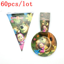 Cute Masha and Besr Theme Design Disposable Tableware Baby Shower Kids Birthday Party Decorations Supplies 60Pcs/Lot