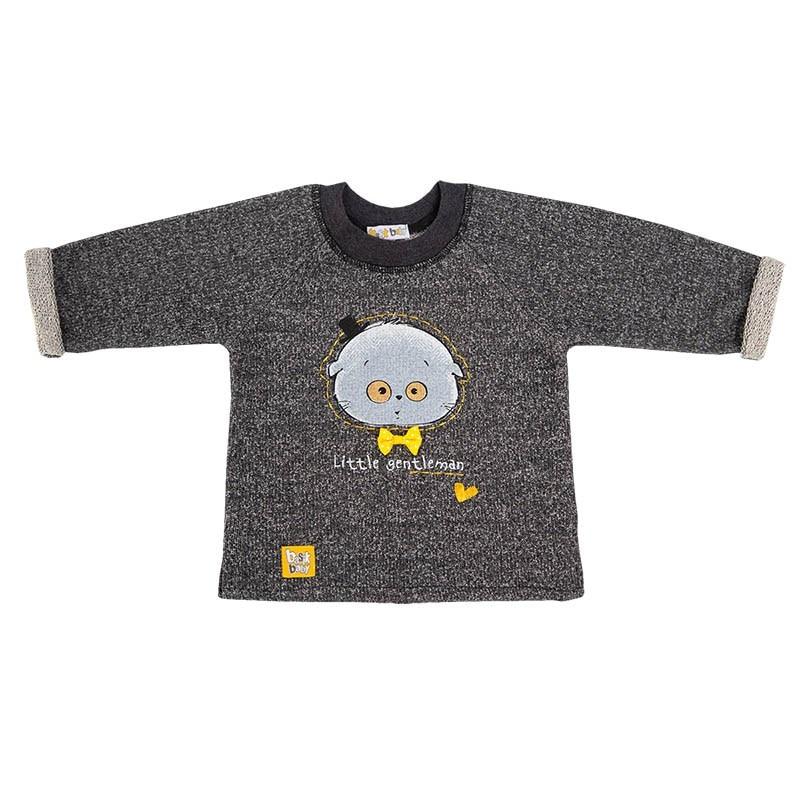 Basik Kids Jersey Sweatshirt Anthracite christmas snowflake print long sleeve flocking sweatshirt