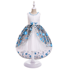 Vestido Infantil Moana Carters New Children 's Tailing Wedding Dress Girl Classic Flower Princess Dresses For Girls Party Occasi