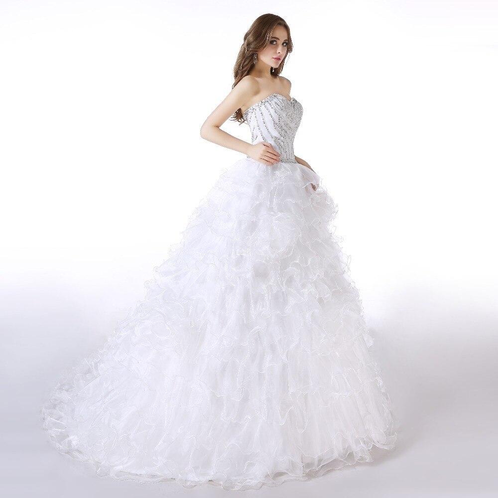 Parti 2018 Robe Gamme Robes Bretelles Élégant De Femmes Blanc Train Princesse Diamants Épouses Haut Proms 01 White Longue Chapelle Mariages Nouveau W0qO86w40