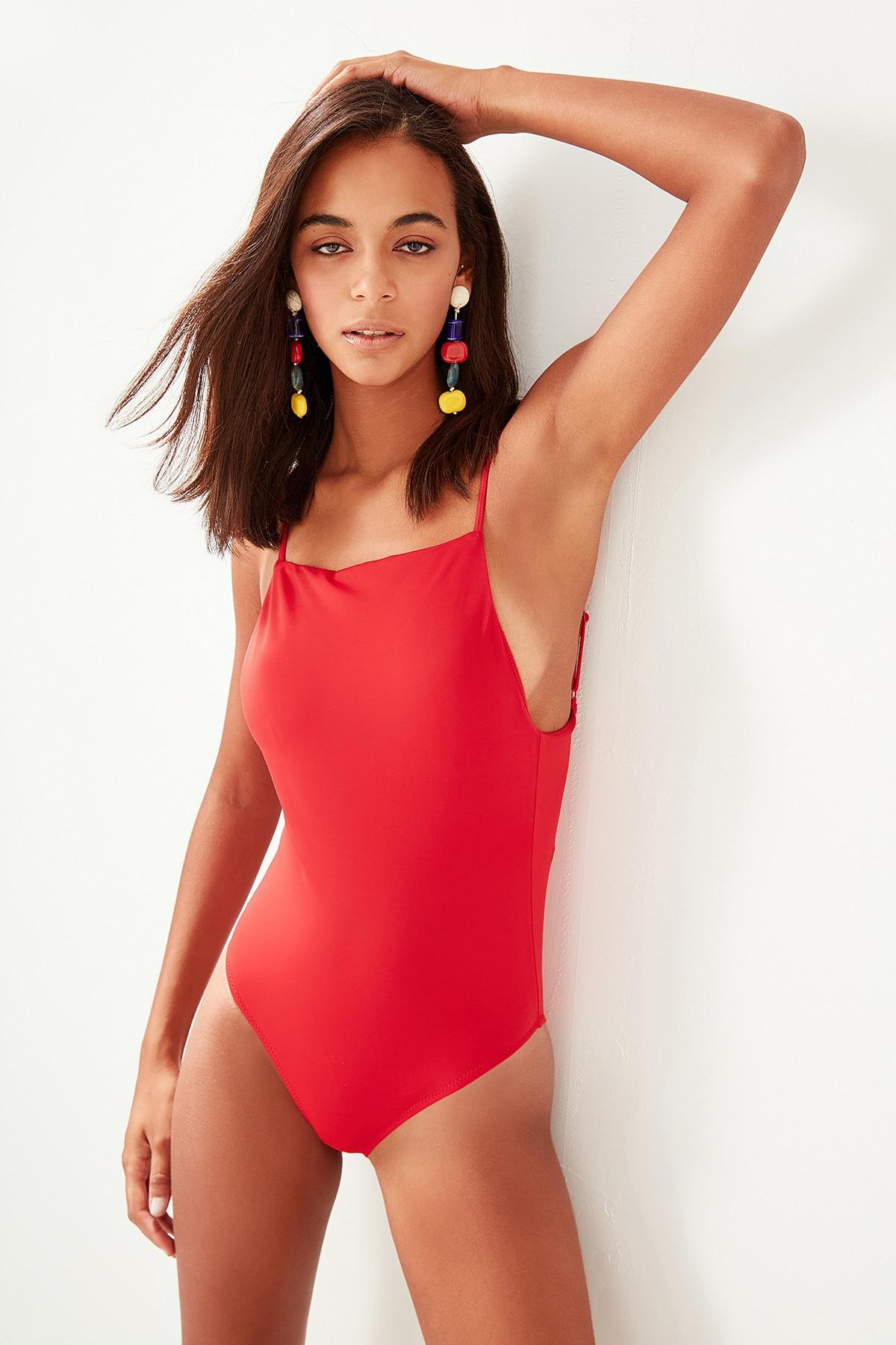 Trendyol Red Halter Swimsuit TBESS19XH0003