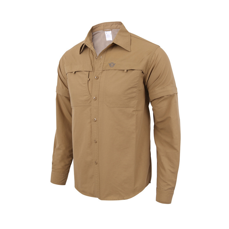 Shirts Removable Long-Sleeve Hunting Quick-Drying Fishing Tactical Outdoor-Sports Summer