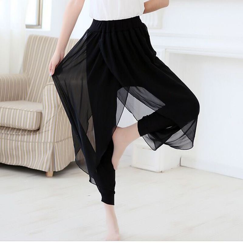 Black Skirt + Capris Lady Loose Harem Pants Big Size S-6xl Chiffon Ankle-length Pants 2018 Women Casual Summer Trousers