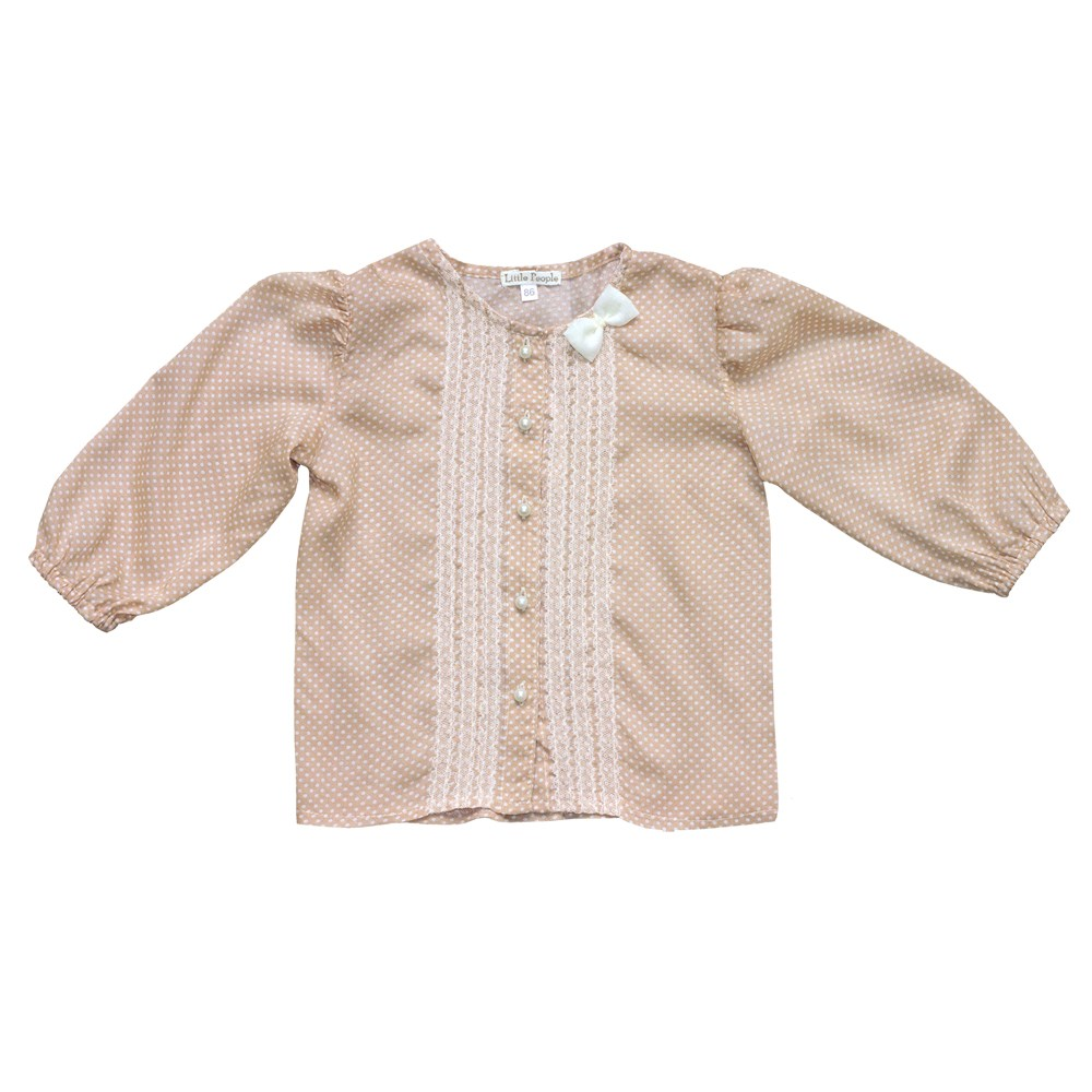 Blouse long sleeve-peas kids clothes children clothing slit sleeve knot ruffle blouse