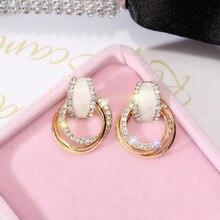 Fashion Charming Silver Rhinestones Drop Earrings For Women Graceful Drop Oil Round Earring Weddings Jewelry graceful multilayered rhinestone water drop bracelet for women