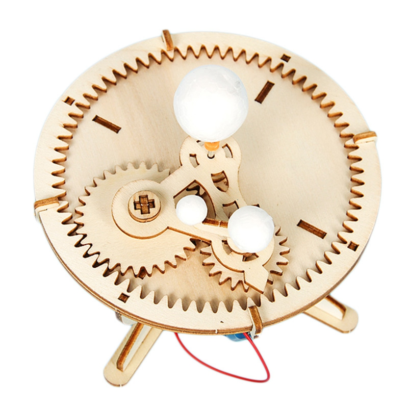 Kids Diy Wooden Science Toys Kit Three Planets Moving Model Physics Learning Educational Toys For Children Boys Blocks