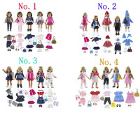 Lot 17 Item=5 Set Doll Clothes+5 Pair Shoes+5 Pieces Bag+2 Pair Socks for 18 Inch American Girl Doll Handmade Casual Wear Outfit