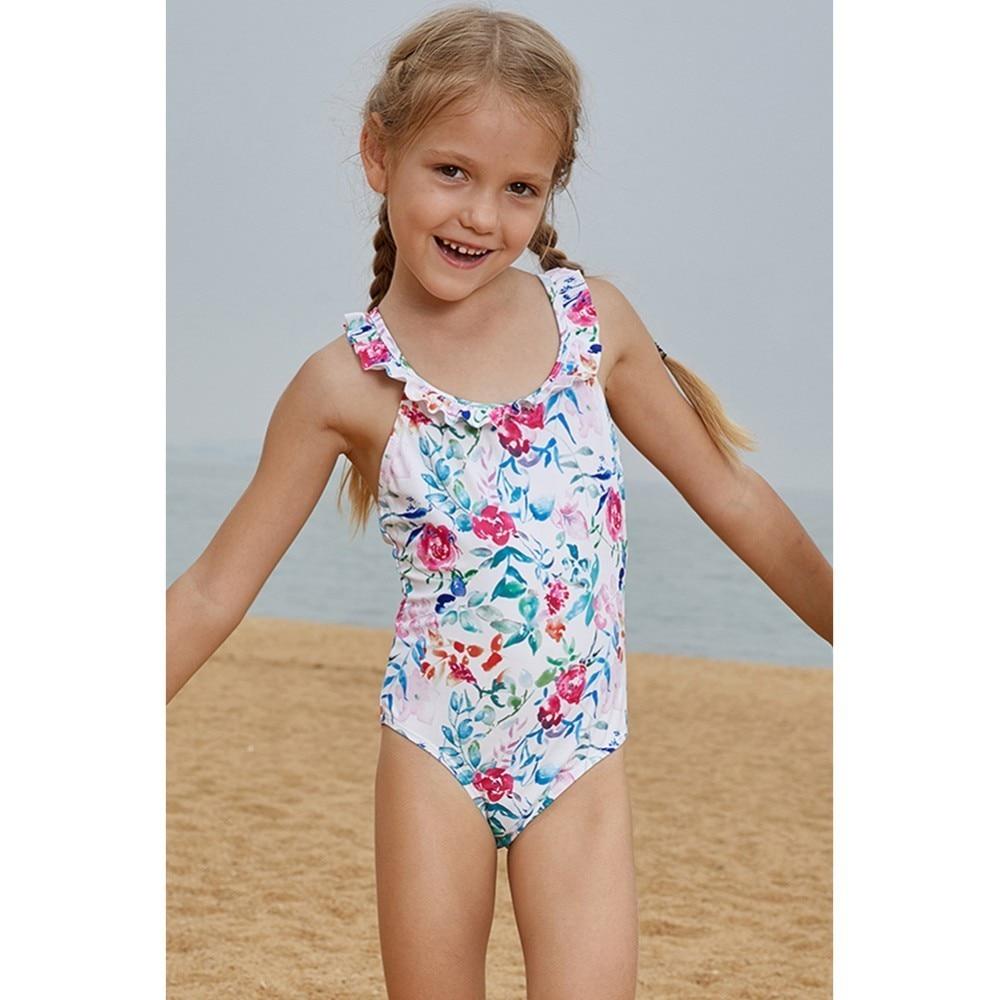 2019 New Children Swimsuit Girls Sport One Piece Swimwear Floral Bodysuit Kids Bathing Suit Child Beach Monokini Maillot De Bain