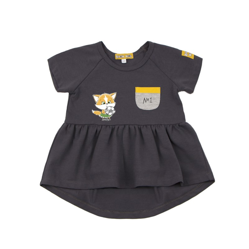 Basik Kids Dress with short sleeve smoke gray exaggerate bell sleeve buttoned keyhole dress