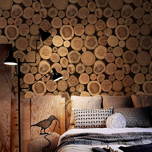 3d Super Thick Sale Wood Log Texture Embossed Pvc Waterproof Wall Paper Roll Living Room Desktop Wallpaper Mural Papel De Parede image