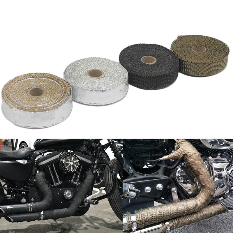 1.5mm*25mm*5m Universal MOTORCYCLE Incombustible Turbo HEAT EXHAUST THERMAL WRAP TAPE STAINLESS Exhaust Pipe Insulation Cloth(China)