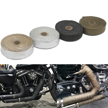 1.5mm*25mm*5m Universal MOTORCYCLE Incombustible Turbo  HEAT EXHAUST THERMAL WRAP TAPE STAINLESS  Exhaust Pipe Insulation Cloth