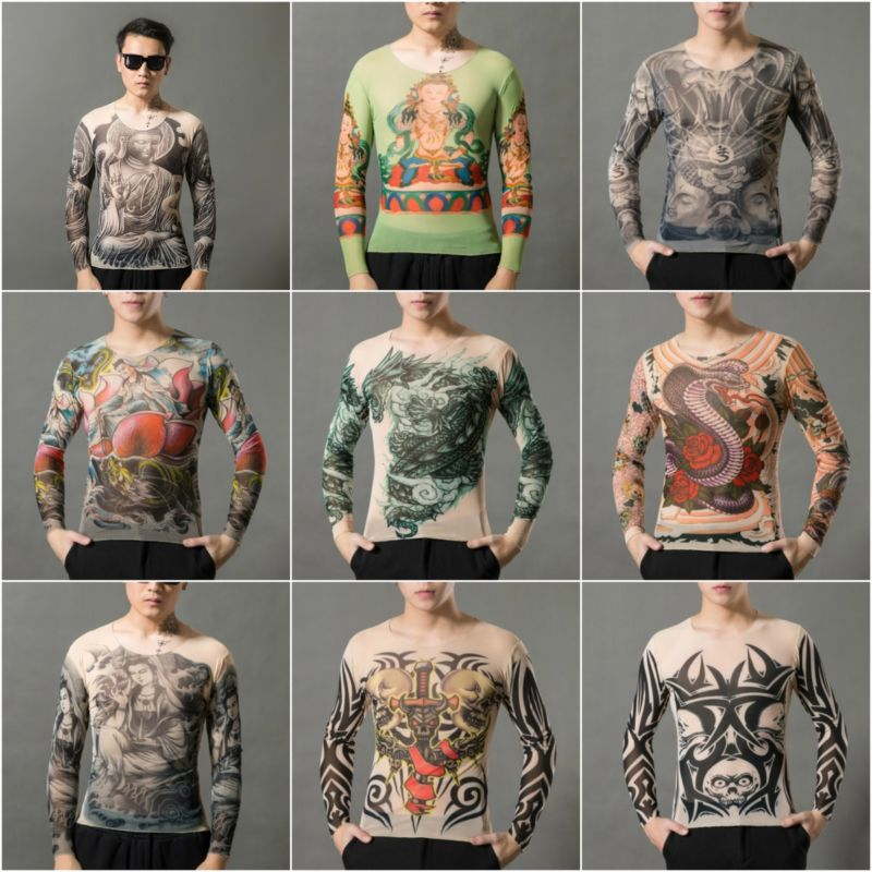 With Pattern Flower Tattoo Elasti CLong Men T-ShirtTattoo Long SleeveT-Shirt With Carp Pattern Flower For Men Elastic Suitable