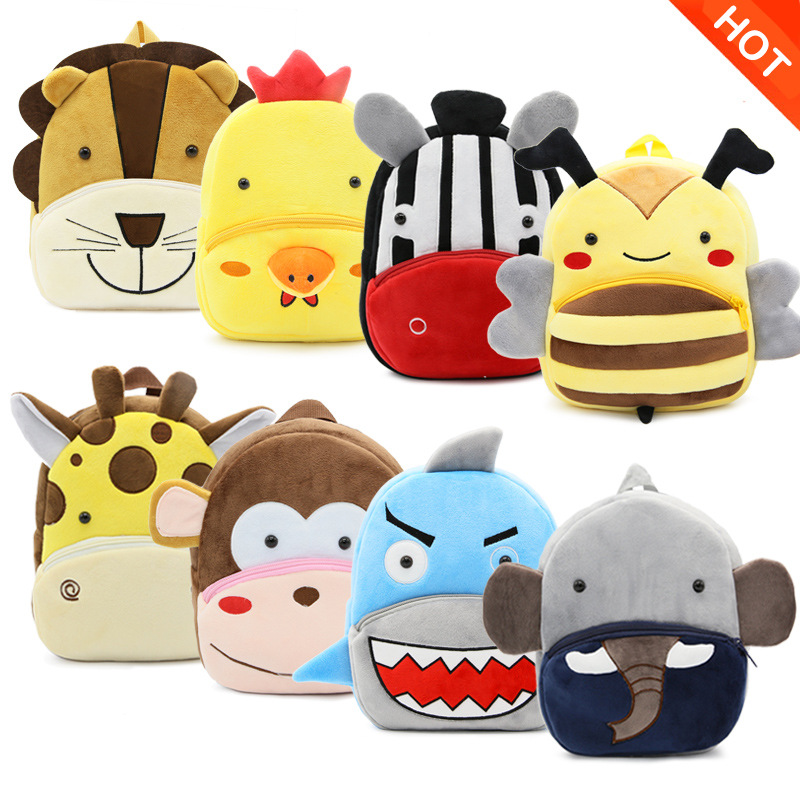 Cute Zoo Series Children Cotton Bag Baby Animal Prints Backpack Travel Leisure Soft And Comfortable Shoulder Bag Plush Backpack
