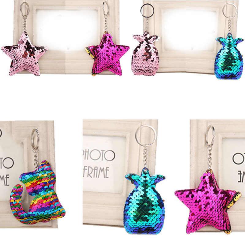 Venda Bonito Lantejoulas abacaxi Chaveiro Para As Mulheres Gato Estrela Brilhando Meninas Saco Carro Chaveiro Acessórios Anel