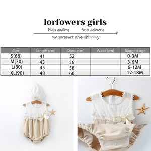 Image 2 - Fashion Baby Girls Lace Cotton Romper Hat For Newborn Kids Infant Clothing Set 3M 12M 18M Princess Sleeveless Birthday Rampers
