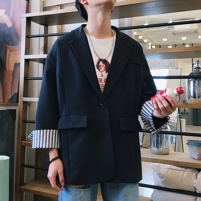 2019 Spring And Summer New Korean Fashion Hip Hop Couple Handsome Cuff Design Solid Color Suit Jacket S 2XL Size Markdown Sale