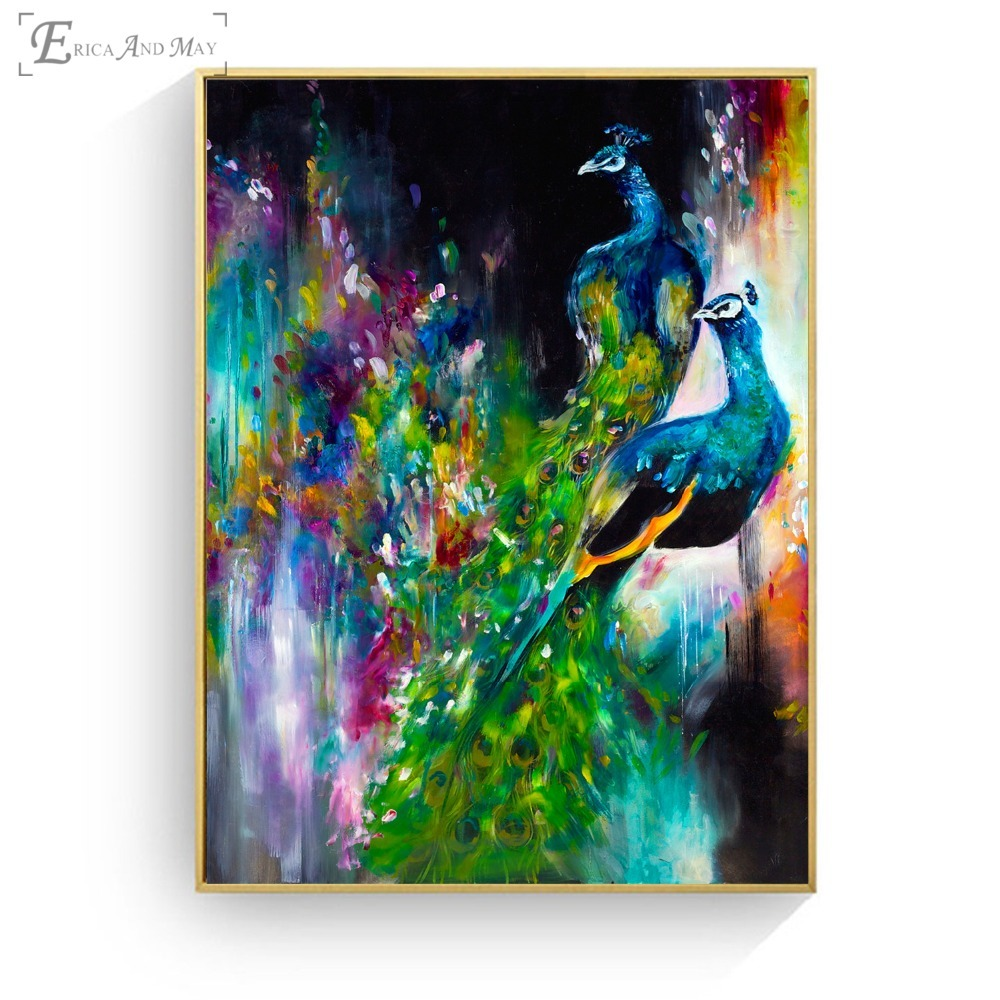 Peacock Watercolor Artwork Canvas Printed Painting Wall Pictures Home Decor Posters And Prints Art For Living Room Decoration in Painting Calligraphy from Home Garden