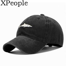 XPeople Unisex Baseball Cap Shark Embroidery Washed Denim Adjustable Classic Cotton Dad Hat