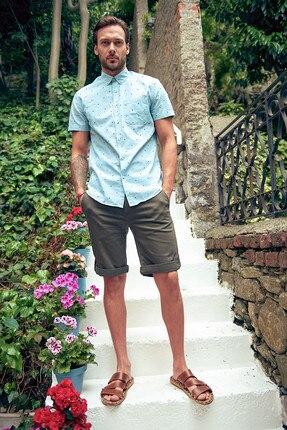 Caritatevole Uomo Khaki Shorts-leg Curl Up Smart-casual Conveniente Da Cucinare