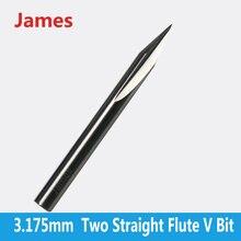 Engraving-Tools Hardwood Milling Two-Flutes Straight-V-Bits SHK 1pc