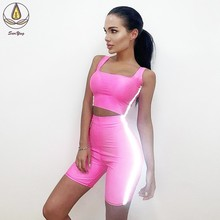 Breathable Sports Clothes Yoga Set Lift Up Shorts Elastic Women Vest 2 PCS Suit Active Wear Tummy Control Leggings