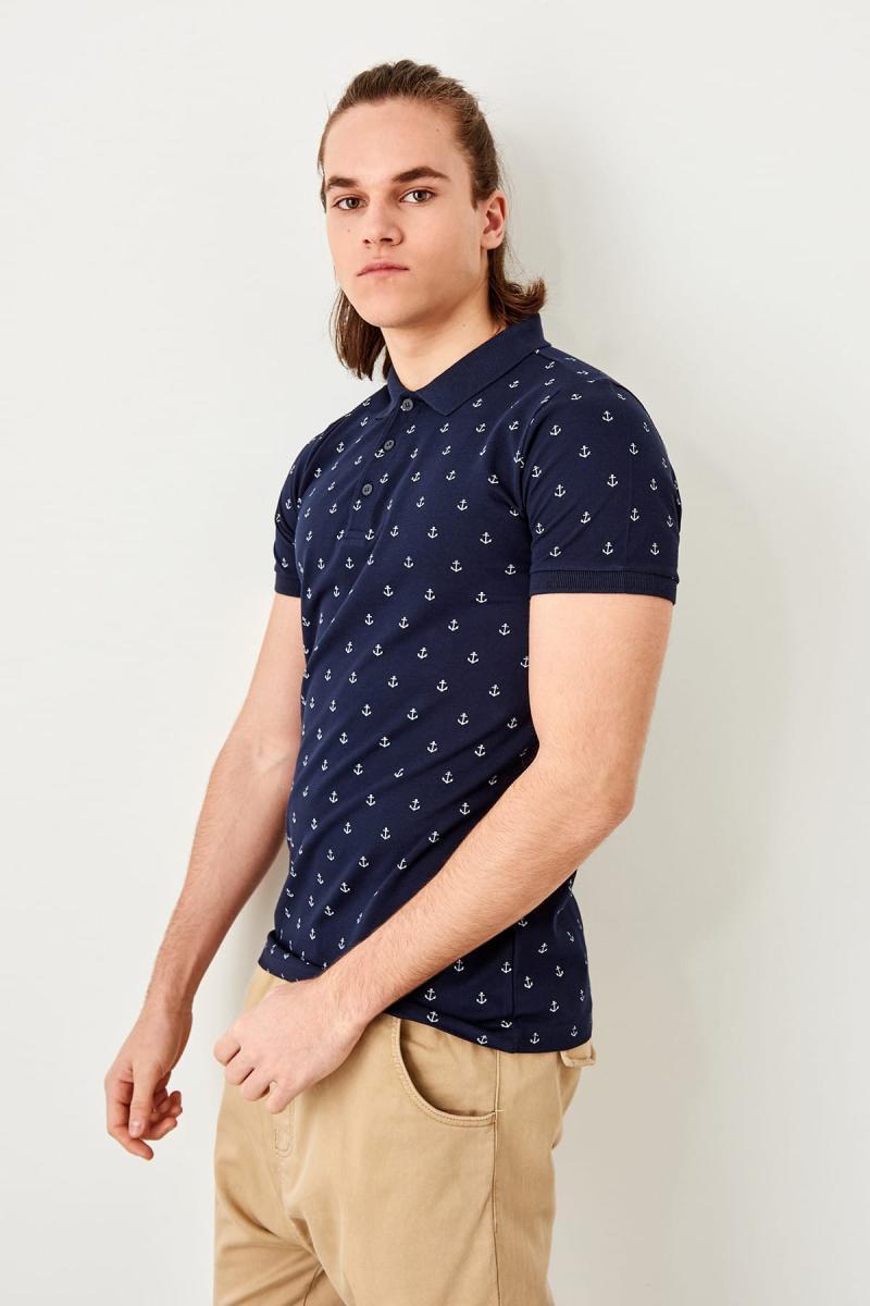 Hart Arbeitend Trendyol Navy Blau Gedruckt Polo Kragen T-shirt Tmnss19hd0005