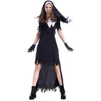 Halloween Nun Cosplay Costume Women Black Vampire Fantasy Dress Terrorist Sister Party Disguise Female Fancy For Adults