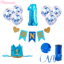 PATIMATE 1st Birthday Party Decorations Kids My First Blue Decor Foil Balloons Baby Boy Shower I AM ONE YEAR