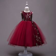цена на Carters Roupas Infantis Menina Flower Kids Girls Embroidered Girl Dresses Princess Party Gown For Children Prom Wedding -15 Year