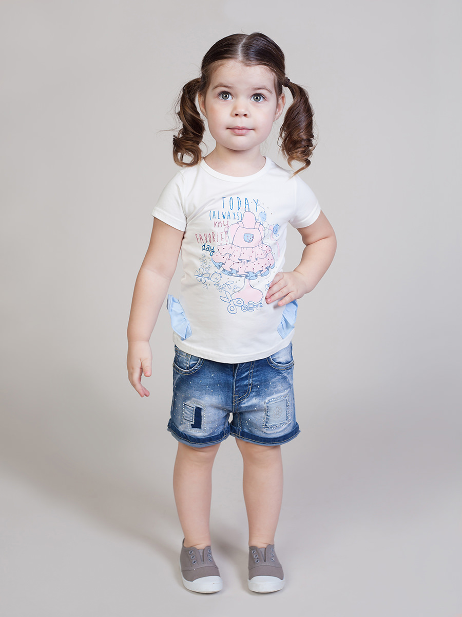 Denim shorts for girls kids self tie dual pocket denim shorts