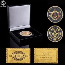 Brotherhood Masonic Freemasonry Collectible Gold Plated Token Coin W/ Luxury Box Display