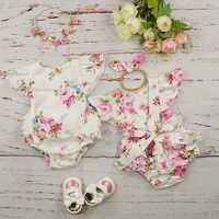 Algodão bebê meninas roupas macacão verão roupas recém-nascidos fotografia 2019 sem mangas floral plissado bebê traje infantil