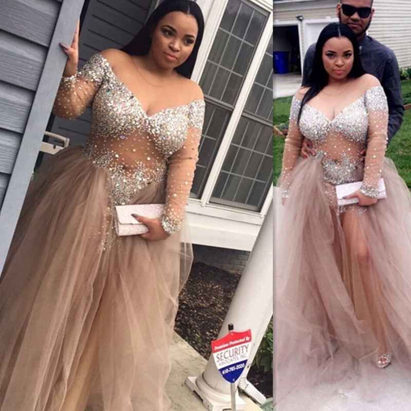 African Champagne Plus Size Prom Dresses 2019 Vestidos De Fiesta Largos Elegantes De Gala Long Sleeve Imported Party Dress